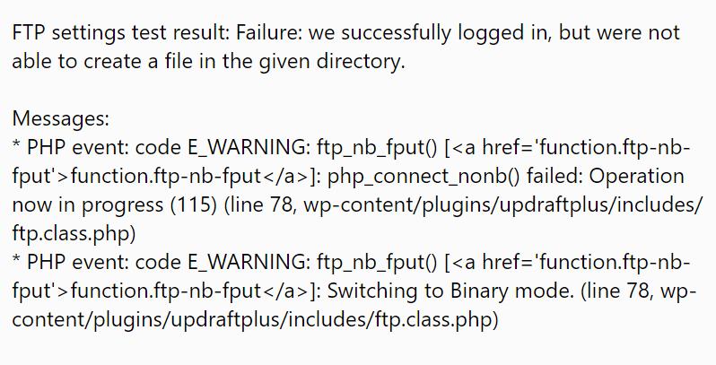 FTP Test Fail