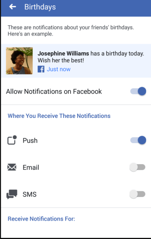 Facebook Birthday Notification