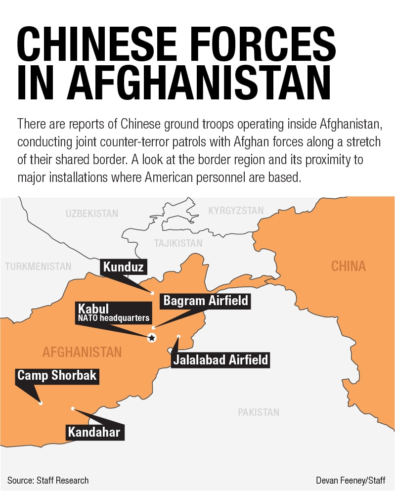 map Chinese troops in Afghanistan