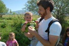 Gavin introducing his son to a Garter Snake
