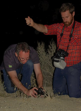 Jamison and Gavin snapping photos iof a Long-nosed Snake.