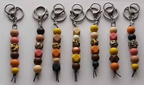 Silicone Bead Key Rings Earthy Tones Group