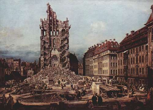 The Ruins of the old Kreuzkirche in Dresden