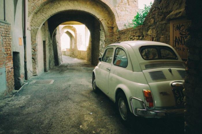 Fiat, 500, car, vintage, Italy, street, road, oldschool