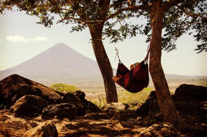 nature, landscape, mountains, summit, peak, slope, grass, trees, sky, clouds, view, man, woman, people, hammock, leisure, relax