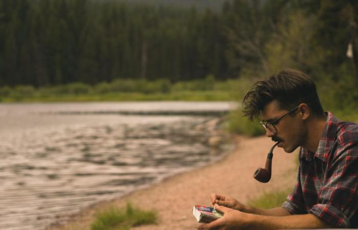 guy, man, pipe, smoking, eyeglasses, river, water, nature, outdoors, people
