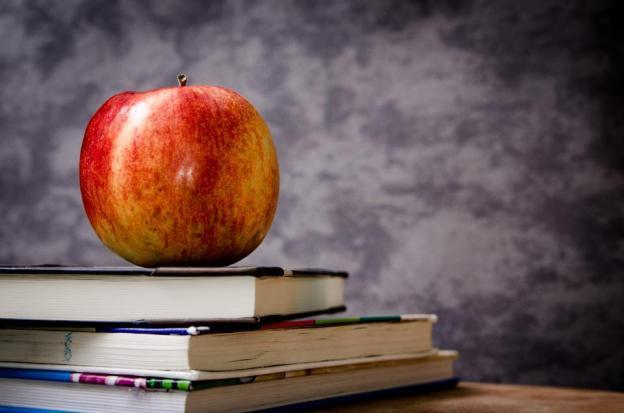 apple, textbooks, books, class, classroom, teacher, school, study, education, fruit, food, desk