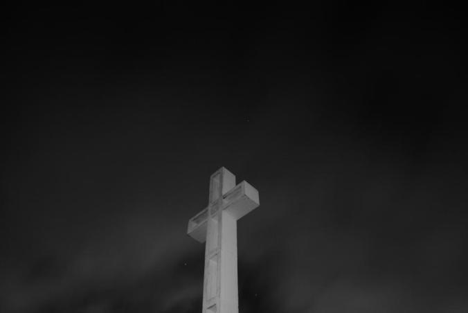 cross, religion, night, sky, evening