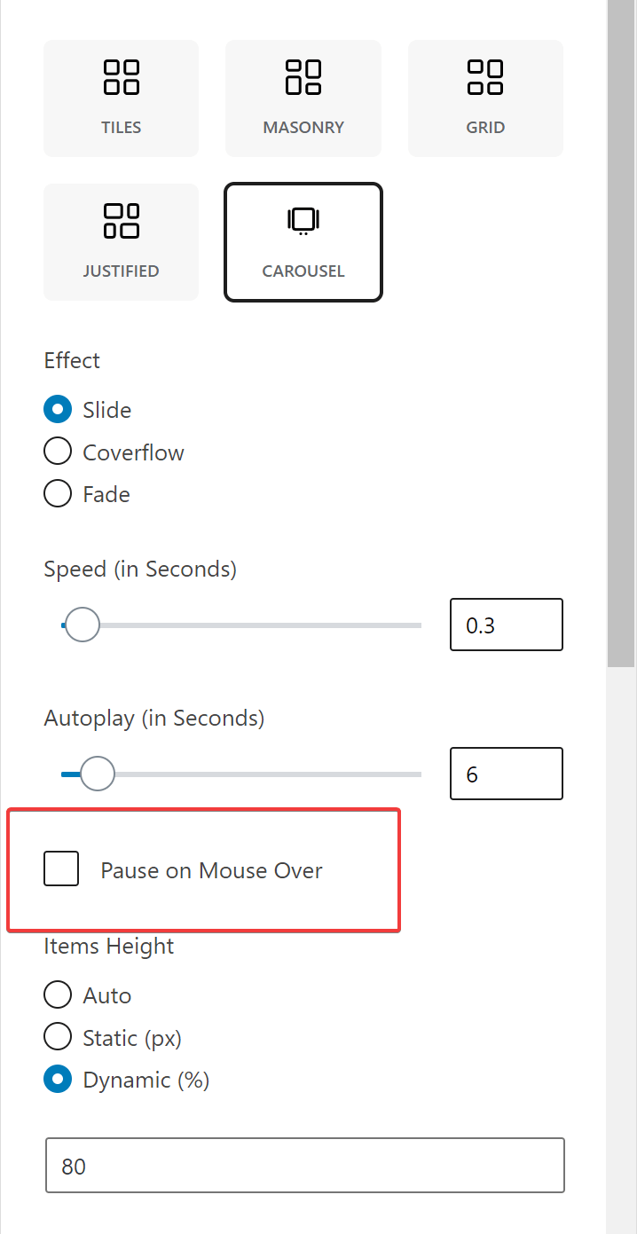 carousel pause on mouse over