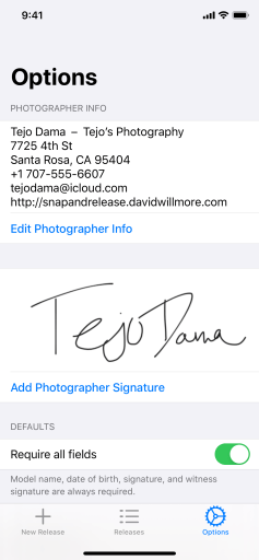 Screenshot showing the Photographer Info and Photographer Signature sections