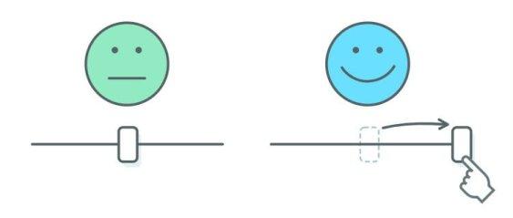 sliders met smileys