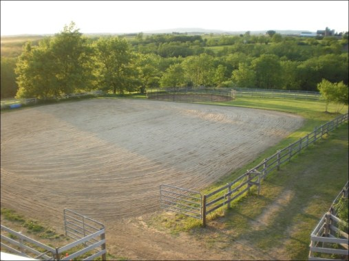 The outdoor arena is 150'x150'.