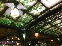 Flower light fixtures bloom while you dine.