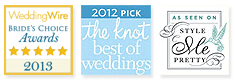 Snapfuze awards from Wedding Wire, The Knot & Style Me Pretty