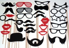 Photo Booth Props on a stick DIY Lips Mustache Glasses Hats