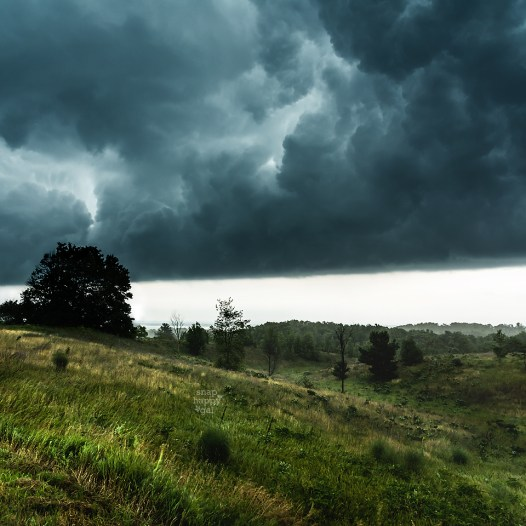 Photo: Dark clouds and fierce winds appear after the arrival of a summer storm in northern Michigan