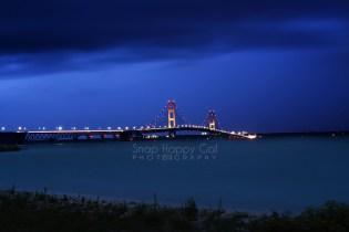 Photo: Blue twilight and the Mackinac Bridge
