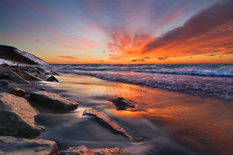 Photo: Vibrant sunset over Lake Michigan on Empire Beach