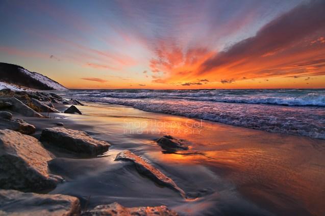 Photo: Vibrant sunset over Lake Michigan on Empire Beach