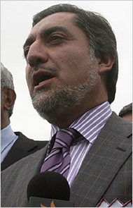 Dr. Abdullah in Kabul after filing to run for president.