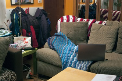 Tamara's crochet spot looks very cozy with her Moogly afghans.