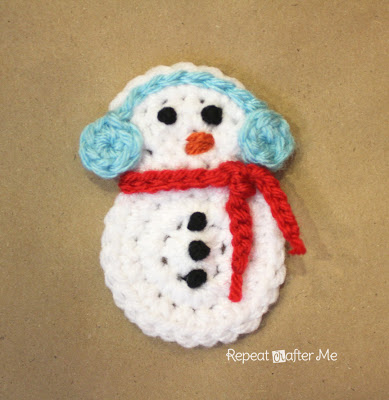 Crochet snowman applique from Repeat Crafter Me.