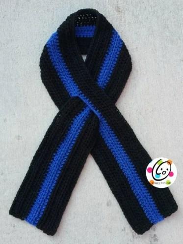 thin blue line scarf free crochet pattern