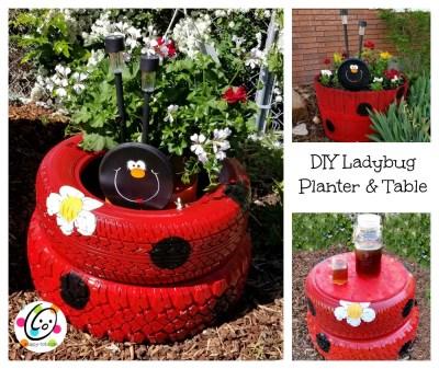 DIY Ladybug Planter and Table