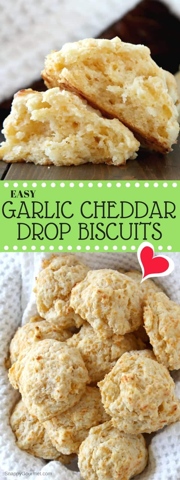 Garlic Cheddar Drop Biscuits Recipe - easy homemade from scratch biscuits! SnappyGourmet.com