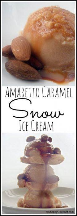 Amaretto Caramel Snow Ice Cream recipe - how to make snow ice cream with amaretto and caramel! SnappyGourmet.com