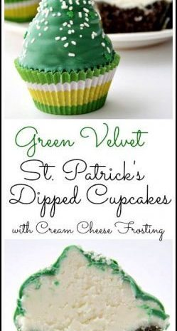 Green Velvet Dipped Cupcakes recipe - easy homemade cupcake recipe with cream cheese frosting for St. Patrick's Day! SnappyGourmet.com
