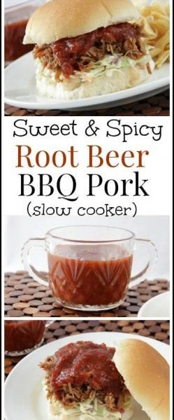 Sweet & Spicy Root BBQ Pork, slow cooker recipe with an easy homemade BBQ sauce | snappygourmet.com