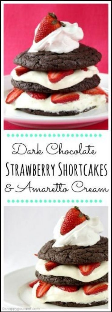 Dark Chocolate Strawberry Shortcakes with Amaretto Cream - an easy strawberry shortcake dessert recipe perfect for spring, summer, or Mother's Day! SnappyGourmet.com