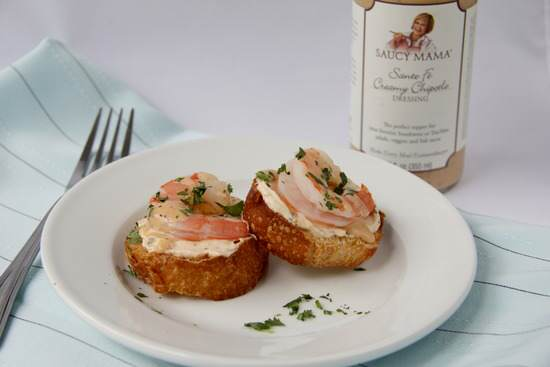 Creamy Chipotle Shrimp Crostini Recipe | SnappyGourmet.com