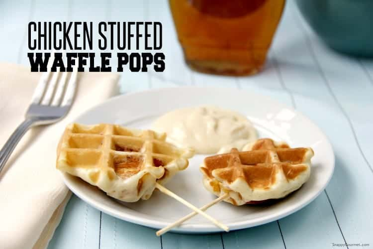 Chicken Stuffed Waffle Pops -best chicken and waffles on a stick