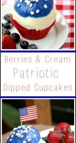 Berries & Cream Patriotic Dipped Cupcakes