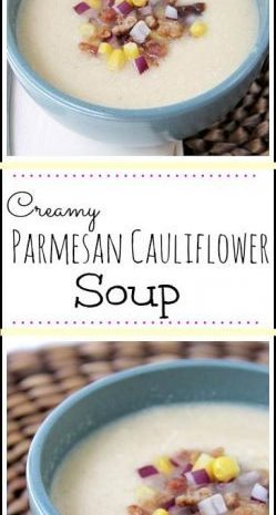 Creamy Parmesan Cauliflower Soup - easy homemade soup recipe! SnappyGourmet.com