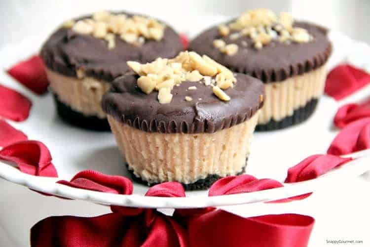 Buckeye cheesecakes on platter