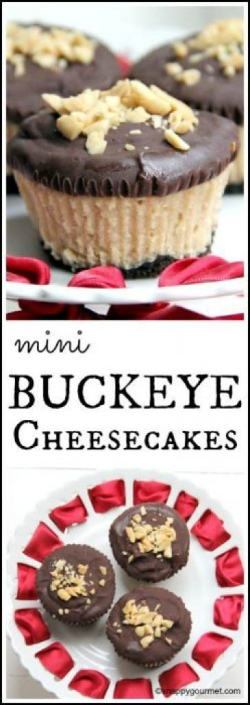 Mini Buckeye Cheesecakes Recipe - an easy homemade chocolate peanut butter cheesecake | snappygourmet.com