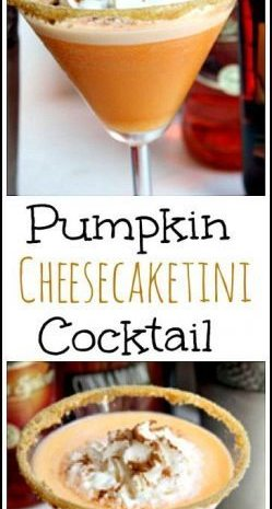 Pumpkin Cheesecaketini Cocktail Recipe - easy homemade drink inspired by pumpkin cheesecake! SnappyGourmet.com