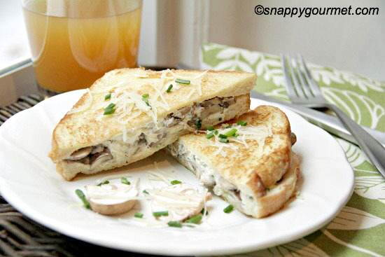 Mushroom Herb Stuffed French Toast | snappygourmet.com