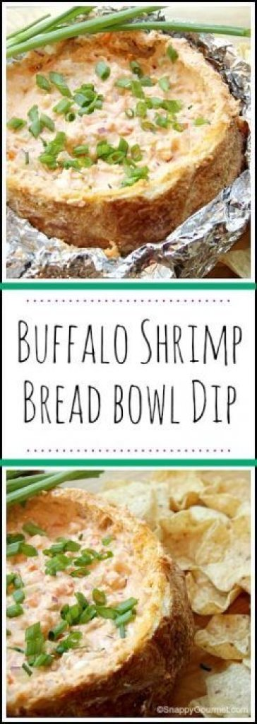 Buffalo Shrimp Bread Bowl Dip - an easy homemade snack or appetizer recipe great for tailgating, dinner parties, or anytime! SnappyGourmet.com