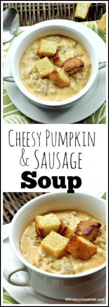 Cheesy Pumpkin & Sausage Soup an easy fall homemade soup recipe full of cheese, pumpkin, and sausage. SnappyGourmet.com
