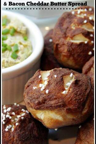 Mini Pretzel Rolls with Bacon Cheddar Butter Spread