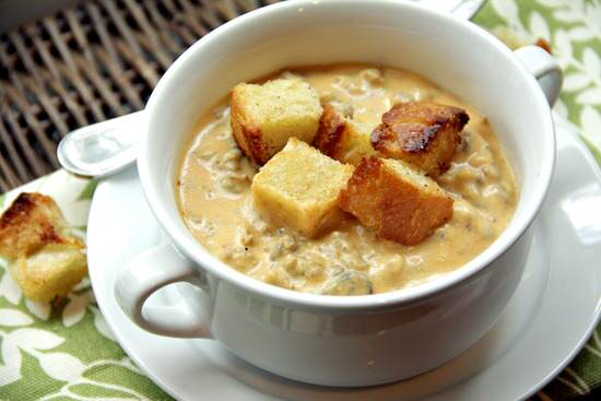 Cheesy Pumpkin & Sausage Soup Recipe | snappygourmet.com