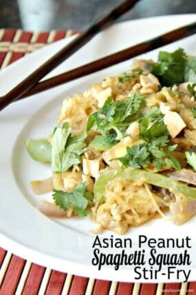 Asian Peanut Spaghetti Squash Stir Fry Recipe - Like spaghetti squash pad thai with lots of vegetables and homemade sauce