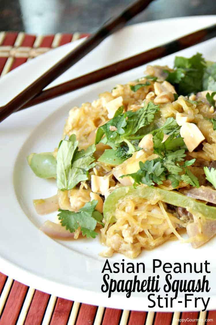 Asian Peanut Spaghetti Squash Stir Fry Recipe - Like spaghetti squash pad thai with lots of vegetables and homemade sauce