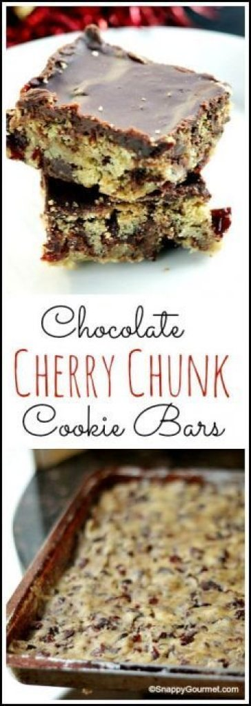 Chocolate Cherry Chunk Cookie Bars - an easy holiday and Christmas homemade cookie recipe. SnappyGourmet.com