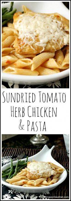 Sundried Tomato Herb Chicken & Pasta - easy homemade Italian dinner recipe   SnappyGourmet.com