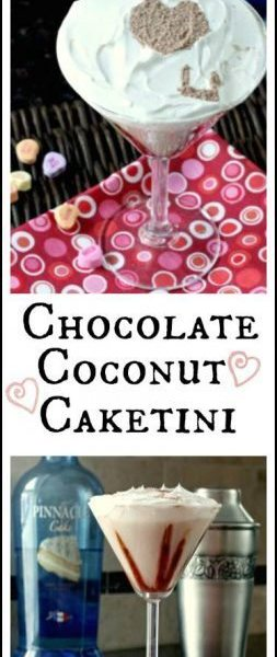 "Chocolate Coconut Caketini Cocktail with fun ""I Love You"" message for Valentine's Day 